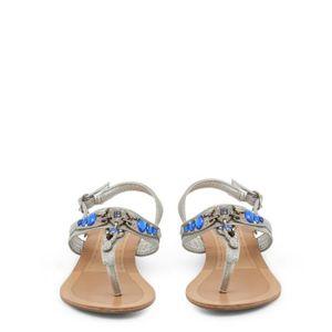argentées plates Sandales détail Gris Buzzao 36 strass bleu qfxawnxC5
