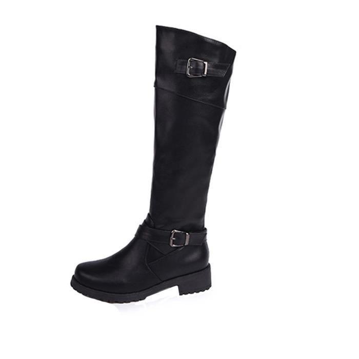 Napoulen®Femmes rondes orteils mi-molle bottes en cuir Matte chevalier Buckle Carré Noir-LHL71014772BK