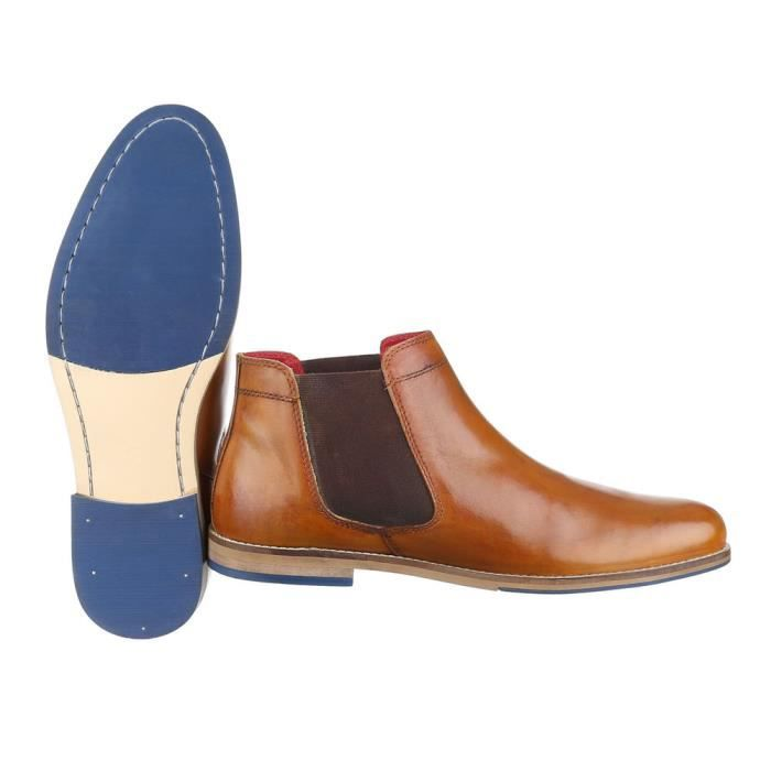 homme botte chaussure cuir bottine Chelsea Camel