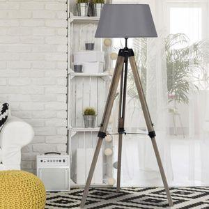 LAMPADAIRE Lampadaire trepied bois réglable gris