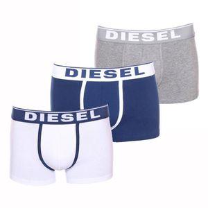 Lot de 3 boxers Diesel Damien en coton stretch blanc, bleu pétrole ... ad12f7b1732