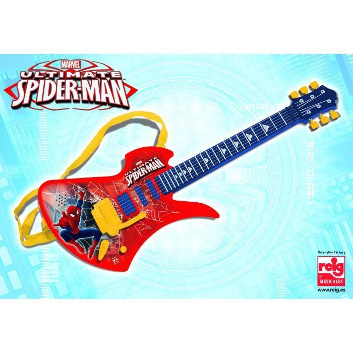 SPIDERMAN Guitare électronique - 6 cordes - 3 chansons demo - A pile