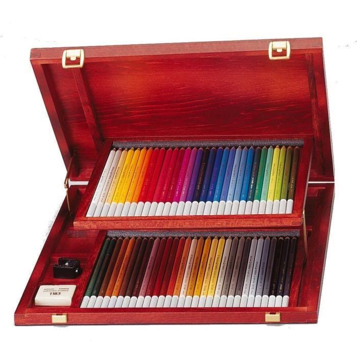 STABILO CarbOthello - Coffret bois - lot 60 crayons de couleur fusain pastel