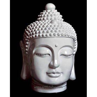 tete de bouddha polyresine blanche brillante a achat vente statue statuette tete de. Black Bedroom Furniture Sets. Home Design Ideas