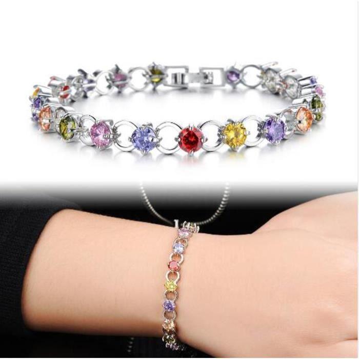 BraceletClassique Multicolore/Blanc Strass Femmes Bracelets Délicat Filles Cadeau Blanc Or Couleur Lien Cha?ne Bijoux Bracelet