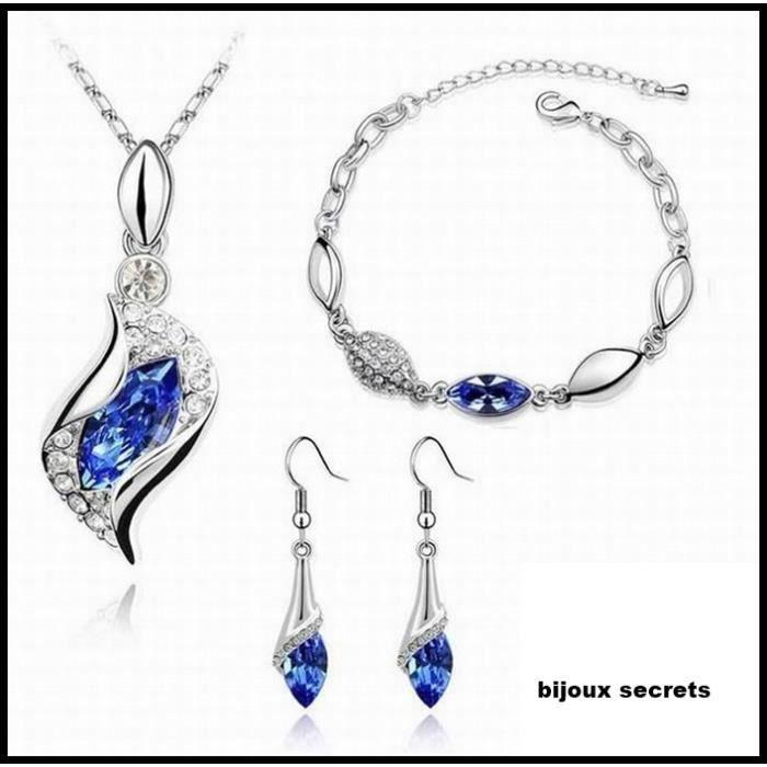 parure bijoux 4 pièces cristal bleu marine
