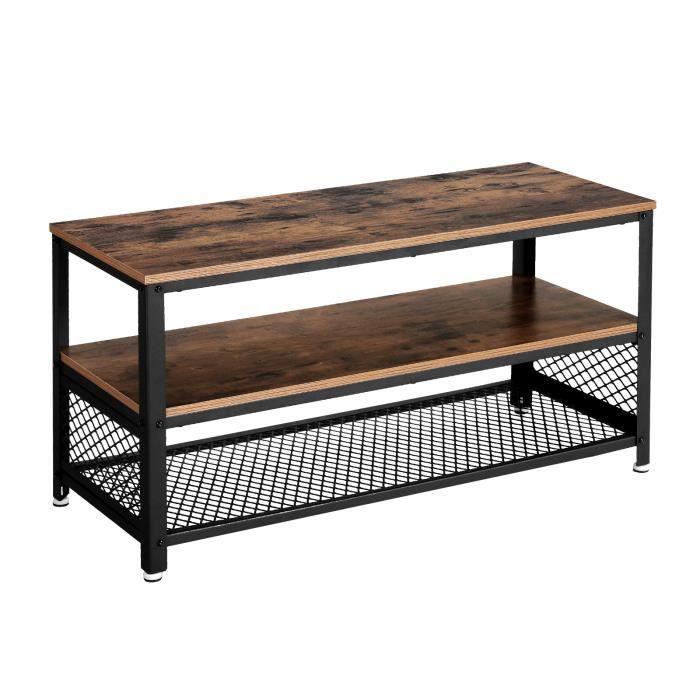 Merveilleux VASAGLE Meuble TV, Style Industriel, 100 X 40 X 52 Cm, Table Basse,  Armature Métallique, Texture Bois, Pour Chambre, Salon, LTV40BX