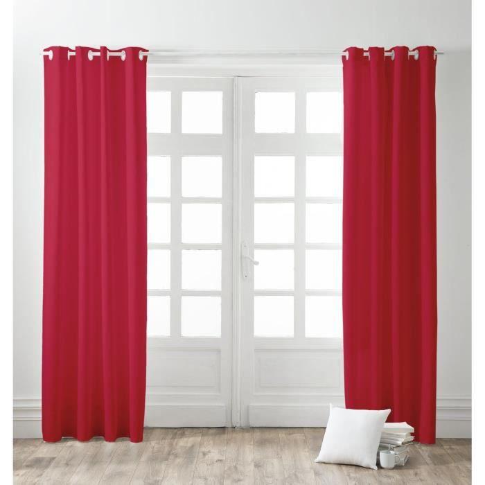 finlandek paire de rideaux illets 100 coton kauha 140x240 cm pomme d 39 amour achat vente. Black Bedroom Furniture Sets. Home Design Ideas