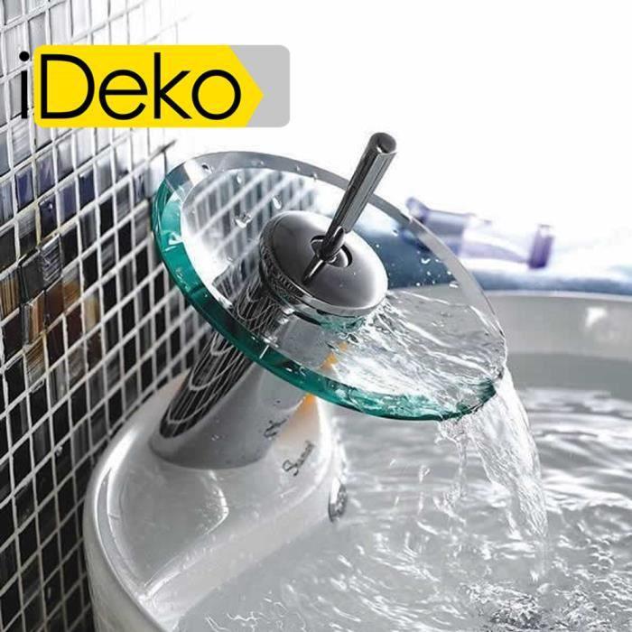 iDeko Robinet Mitigeur lavabo cascade en verre cé Achat Vente