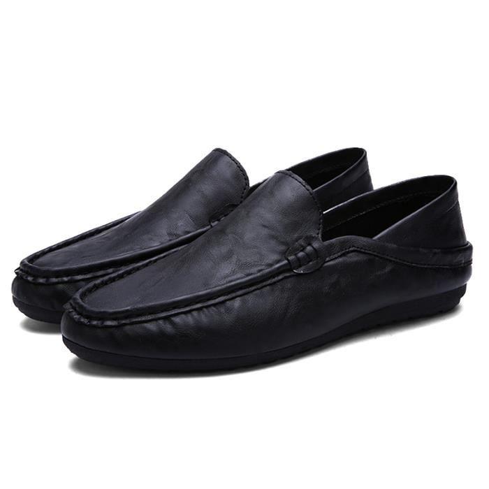 Chaussure Homme Qualité Supérieure Mode Occasionnelles Plat En Cuir Souple Ventes Chaudes Respirant Confortable Noir 44 C5sWapg