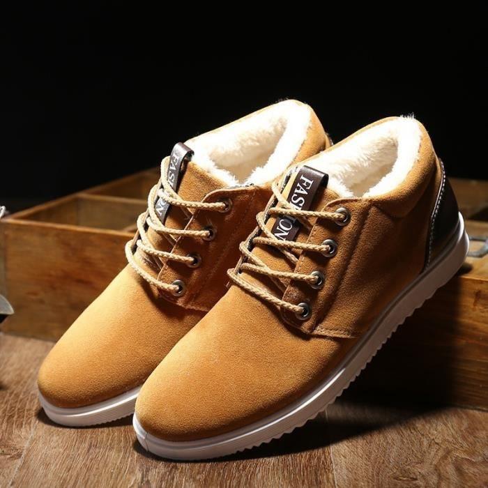 Nouveaux Chaussures Bottes d'homme hiver d'homme en plein air Bottes de neige en coton velours épais Casual Chaussures De Luxe 7PcdE