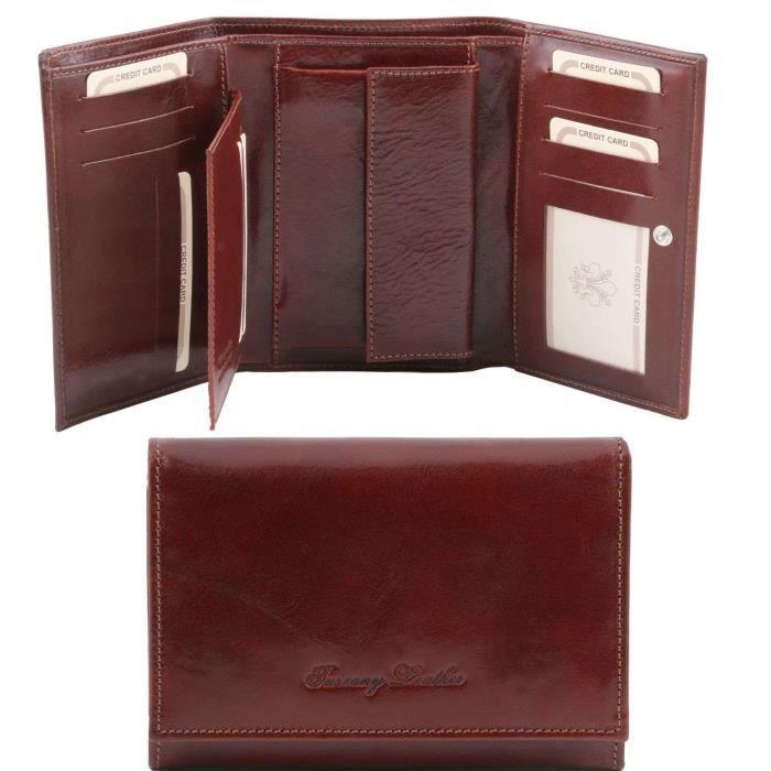 Tuscany Leather - Elégant portefeuille en cuir pour femme - Marron