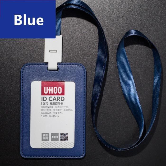 BLEU Étui Porte Badge Carte Visite ID Travail Identité Housse En - Porte badge cuir