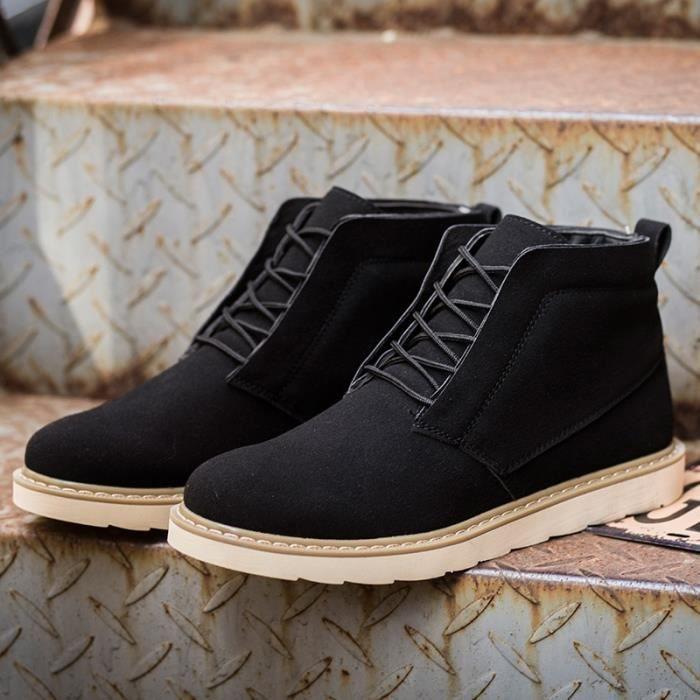 Botte Homme coréenne style Flatsde luxe noir taille39