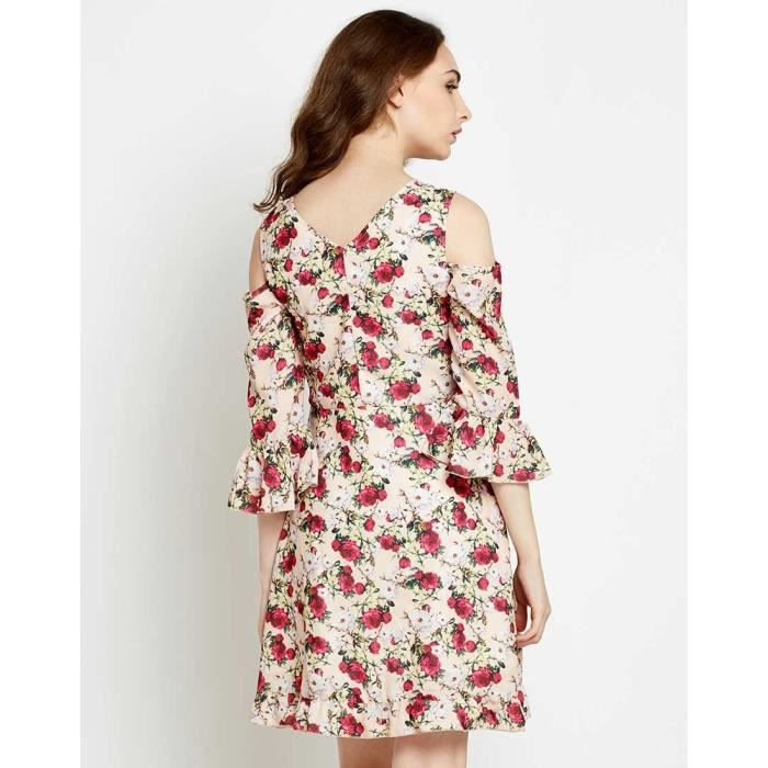 Trendtwo Floral Heliconia Femmes Robe de froid Floral épaule froide Georgette C1SN7
