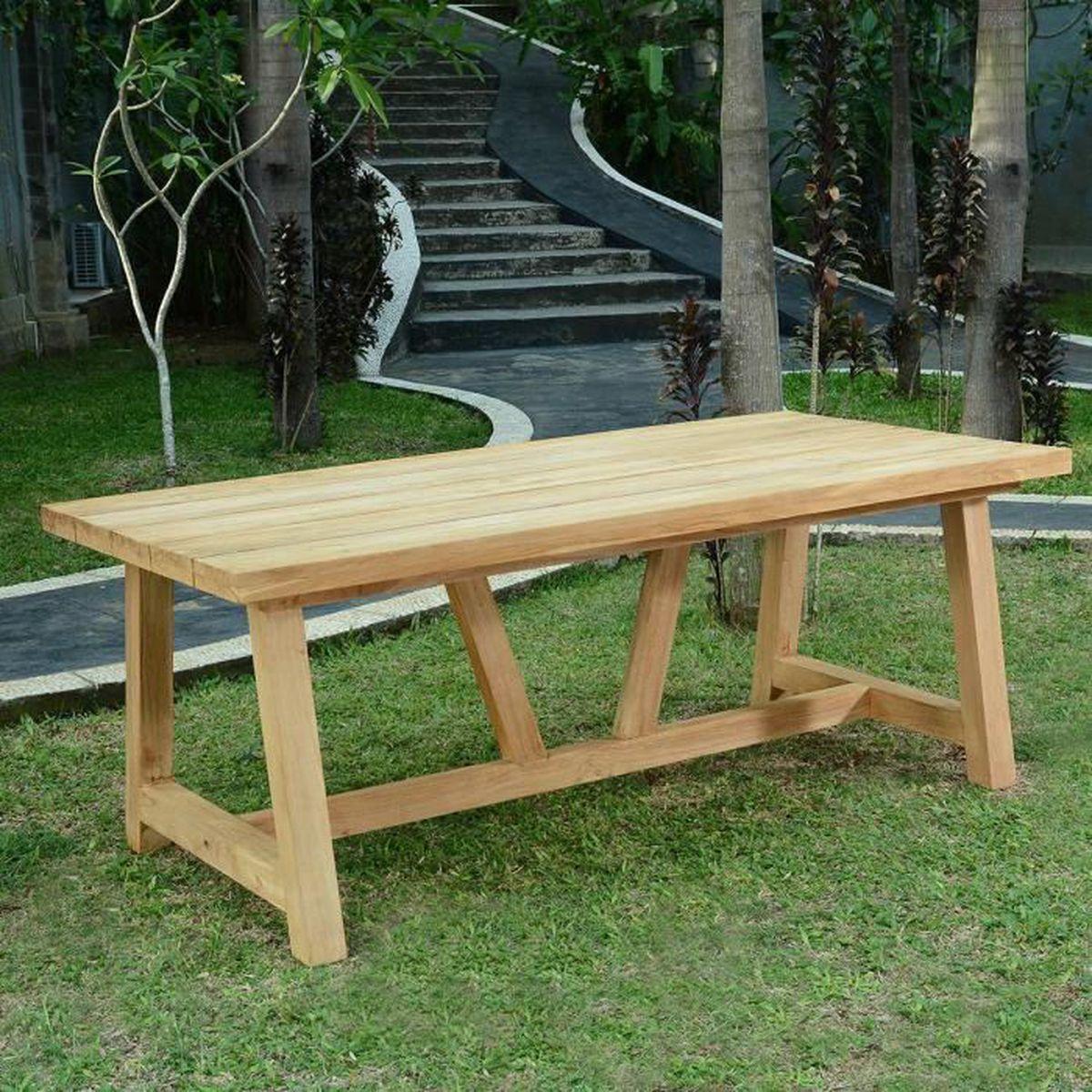 Table en teck Effet recyclé 250 cm Cheverny - Achat / Vente table de ...