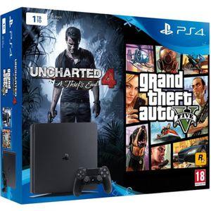 CONSOLE PS4 Nouvelle PS4 Slim 1 To + 2 Jeux : Uncharted 4 : A