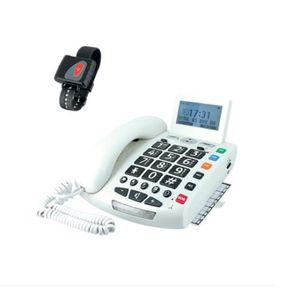 Téléphone fixe TELEPHONE AMPLIFIE SENIOR CLAVIER XXL SOS SONNERIE