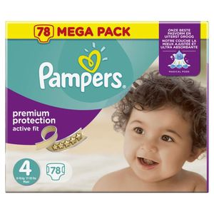 COUCHE PAMPERS Active Fit Taille 4 - 7 à 18 kg - 78 couch