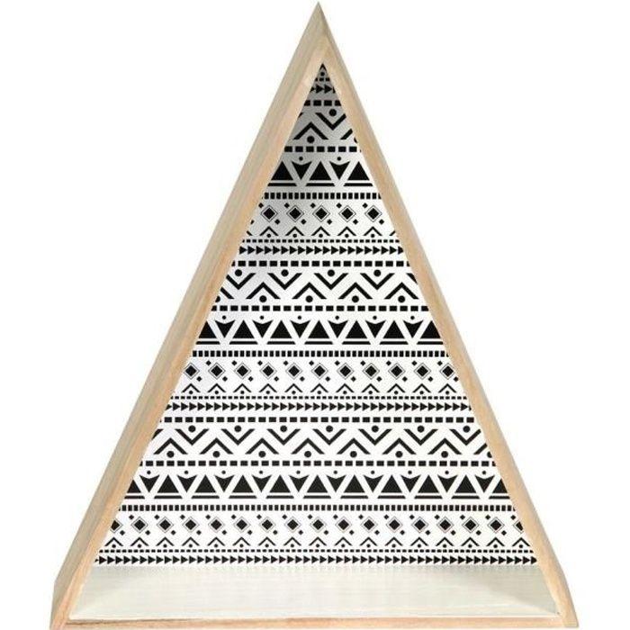 THE HOME DECO FACTORY Lot de 2 étagères triangulaires - Bois - 37,5x11x73 cm - Beige et noir