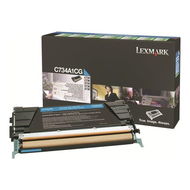 LEXMARK - 1 Cartouche de toner - C734, X734 - 6 000 pages - Cyan