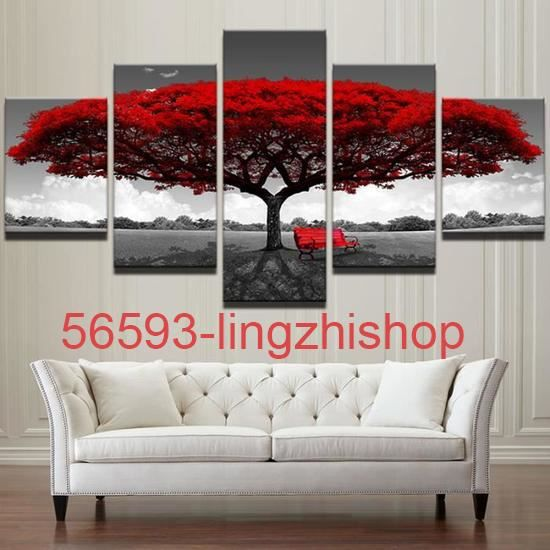 lingzhishop Non encadrés(Pas de cadre)Tableau decoration salon 5 panneaux  Rouge Arbre Art Paysage imprimées pictures Affiche Photo