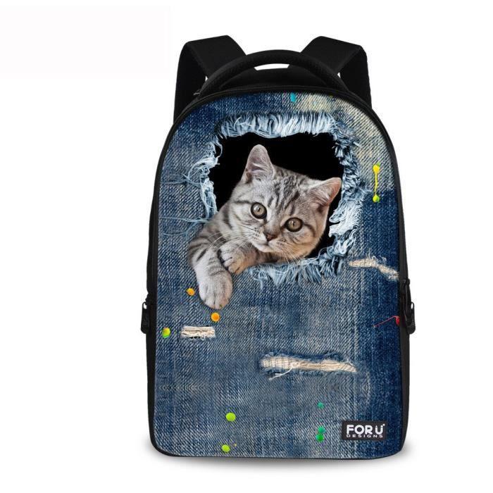 Chaqlin Produits mignon Kitty Chats Imprimer 900D Polyester Sac à dos pour les adolescents M0MJ4