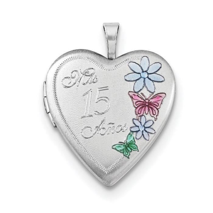 Argent Sterling 20 mm émaillé 15 Mis Anos Médaillon en forme de cœur