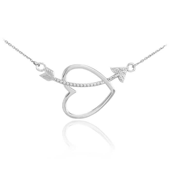 Pendentif 14 ct Or Blanc 585/1000 Cœur et flèchede Diamants