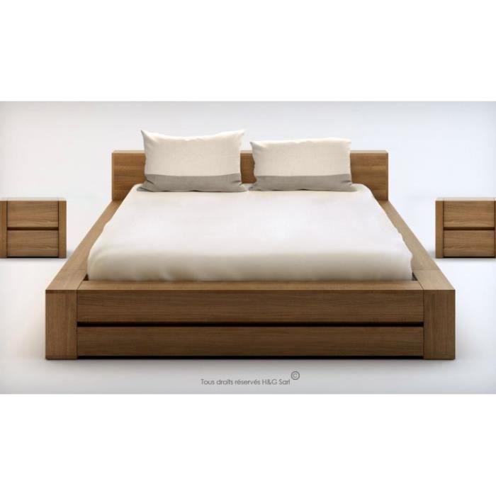 lit 2 personnes bois massif design lounge 140x200 noyer clair 2 chevets achat vente. Black Bedroom Furniture Sets. Home Design Ideas
