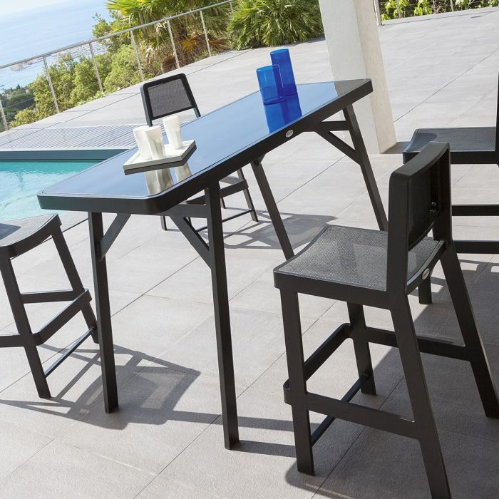 Table haute BERTIOGA NOIRE - Achat / Vente table de jardin Table ...