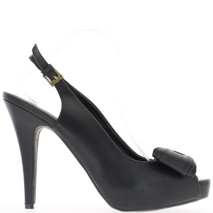 Sandales noires grande taille à talon de 14cm et plateforme avec noeud