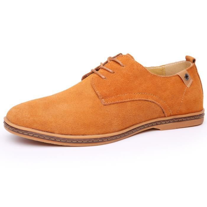 En cuir véritable hommes lacets chaussures flat...