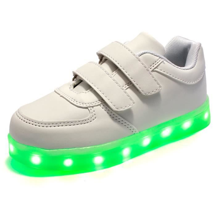 LED Chaussures enfants baskets clignotantes en cuir souple pour enfants Chaussures garçons filles