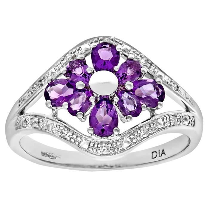 Revoni Bague Améthyste et Diamant Or Blanc 375° Femme: Poids du diamant : 0.035 ct - CD-PR07348WAM-P