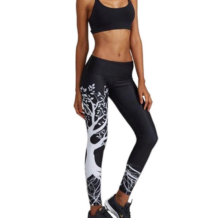 Pantalon De Yoga Femme Sport Haute Elastique Coupe Slim Imprime