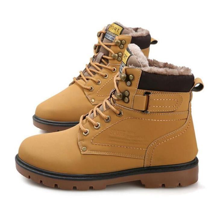 Hommes Bottines Marque De Luxe Haut qualité Martin Bottines Automne et hiver Chaussures de doublure en laine Garder au chaud ZC5dmckAZf