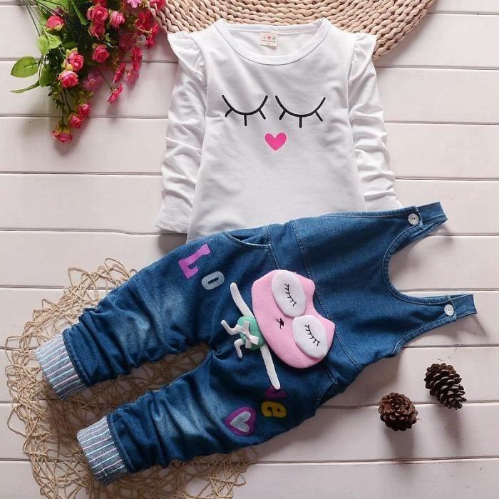 6a74f14603485 Ensemble de vêtements lot de 2pcs Pantalon de jarretelles + T-shirt ENSE.  Vêtements pour enfants en gros bébé filles printemps ...