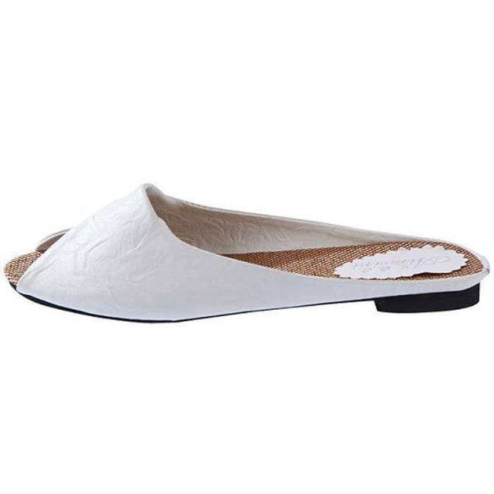 D'été Spartiates Nowonie Tongs Chaussures Sandales Femmes Blanc Bas WEHD29IY