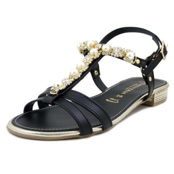 acheter en ligne 04ae0 42759 Sandale nu-pieds, femme, cuir noir, talon bas, PRATIVERDI