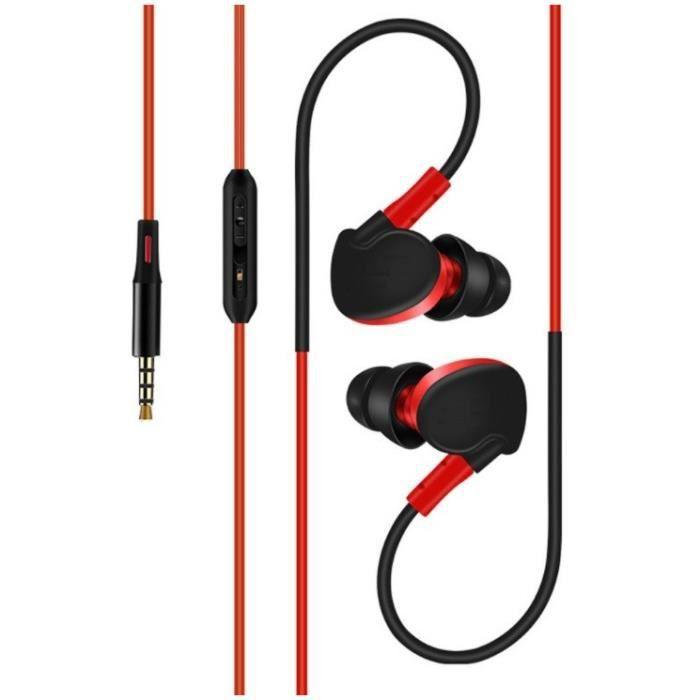 Ecouteurs Sport Pour Lg L Bello Ii Smartphone Avec Micro Et Bouton Réglage Son Kit Main Libre Intra- - Couleur:roug
