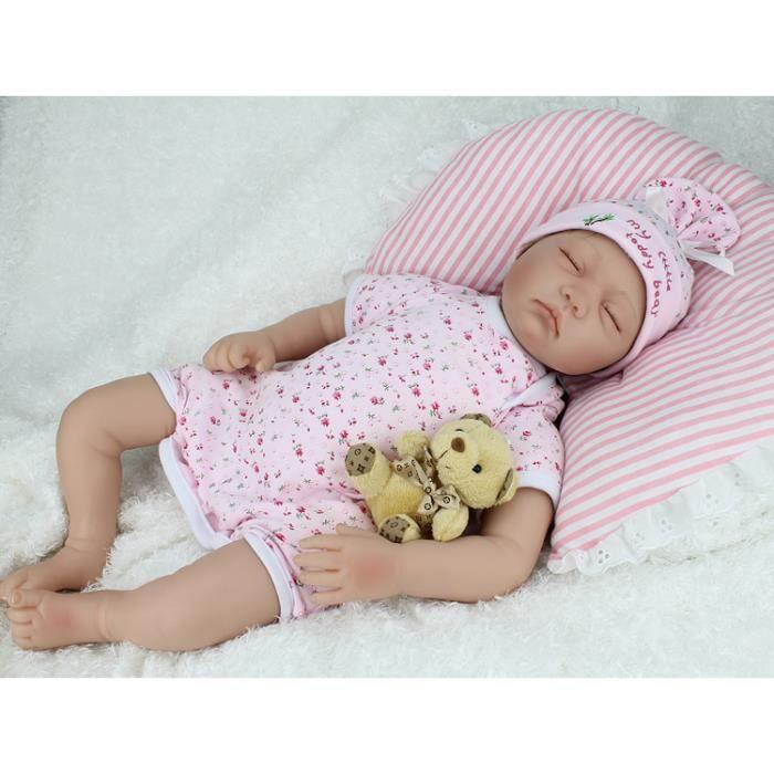 81e428492cc40 Mode 22 polegada Silicone bébé Reborn poupées bébés réel vinyle ventre de  couchage 55 cm jouets