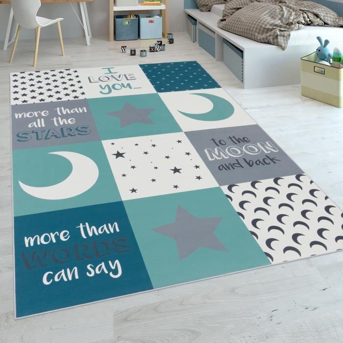Tapis Chambre Enfant Garçons Lavable Cœurs Étoiles Lune Inscription Bleu  Gris