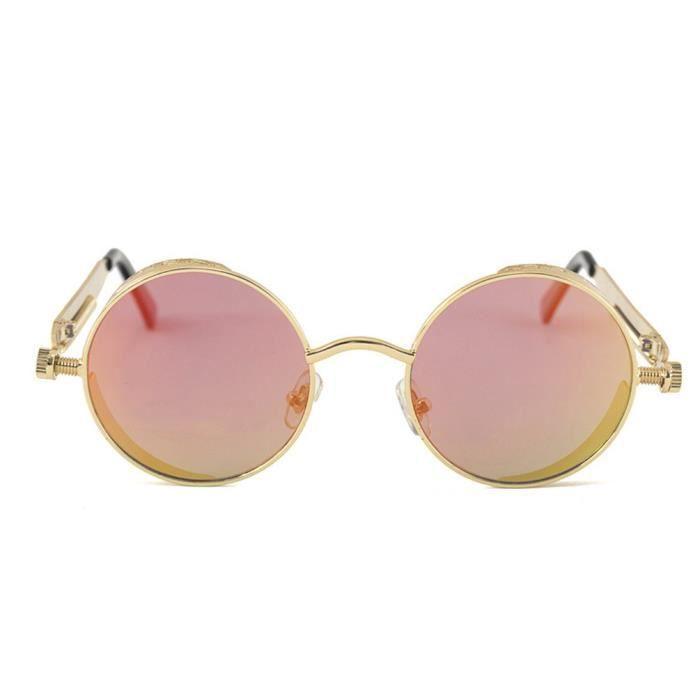 YKS fashion Classique Steampunk lunettes de soleil Gold frame rouge réfléchissant C6