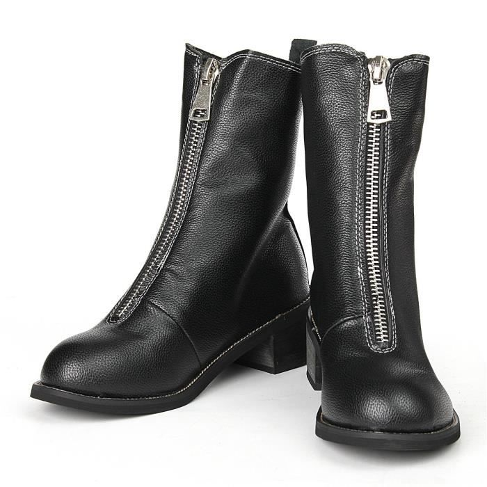 des Bottes en mode militaire d'hiver cuir mi noir 40 Zip verni Noir Chaussures nouvelle moll femmes 2016 EAUwq4w