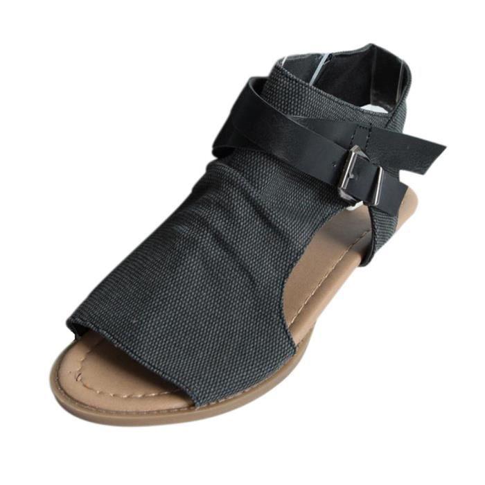 Femmes La 39 Des À De Sandales Plat Chaussures Talon Noir Bouche Poissons 8qXHwfgf