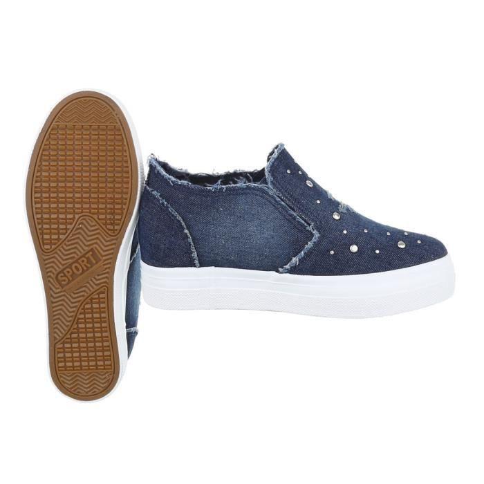 Femme chaussures flâneurs Strass Slipper loisirs chaussures Bleu foncé 40