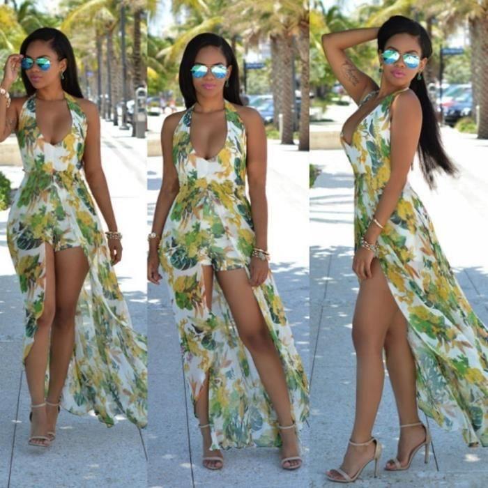 Neck 4 couleurs Mode Sexy Ladies Hanging Exposed Retour en mousseline de soie Robe dimpression S-3XL,vert,XXL
