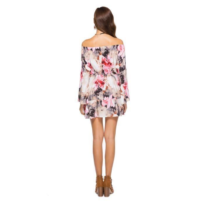 Robe Femme Eté À Épaules Dénudées Imprimé Taille Élastique Slim Fit Mode Simple Flavor