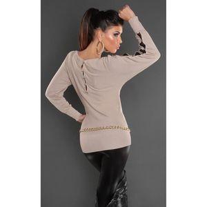 pull court marron clair manches longues ajourée nouvelle collection femme  koucla aa3805d6a10c